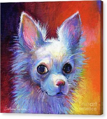Whimsical Chihuahua Dog Painting Canvas Print by Svetlana Novikova