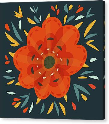 Whimsical Decorative Orange Flower Canvas Print by Boriana Giormova