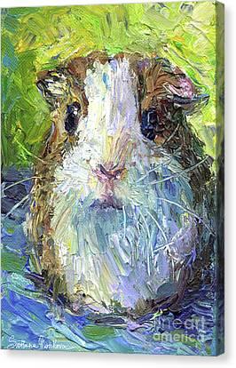 Whimsical Guinea Pig Painting Print Canvas Print by Svetlana Novikova