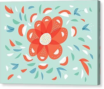 Whimsical Red Flower Canvas Print by Boriana Giormova