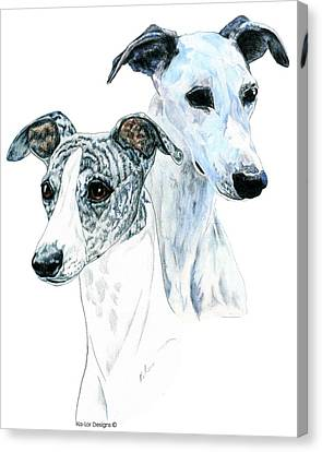 Whippet Pair Canvas Print by Kathleen Sepulveda