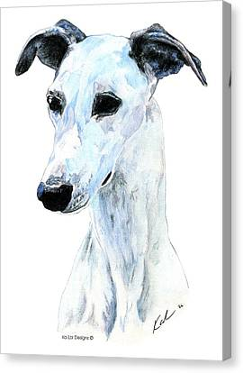 Whippet, White Canvas Print by Kathleen Sepulveda