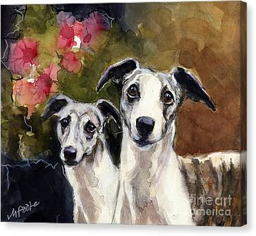 Whippets Canvas Print by Molly Poole