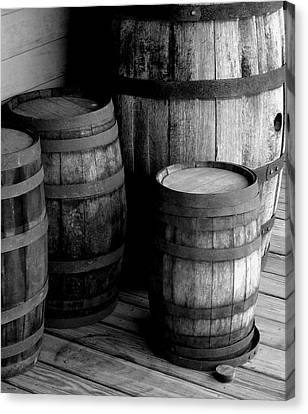 Whiskey Barrels Canvas Print by Val Arie