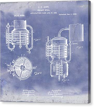 Whiskey Still 1906 In Blue Grunge Canvas Print by Bill Cannon