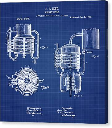Whiskey Still 1906 In Blue Print Canvas Print by Bill Cannon