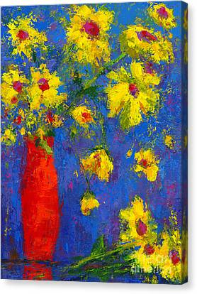 Abstract Floral Art, Modern Impressionist Painting - Palette Knife Work Canvas Print by Patricia Awapara
