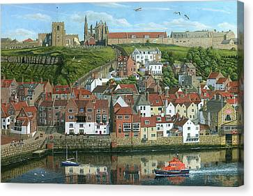 Whitby Harbor North Yorkshire  Canvas Print by Richard Harpum