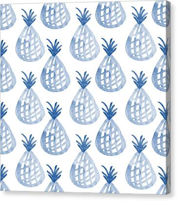 White And Blue Pineapple Party Canvas Print by Linda Woods