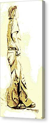 White Boy Standing On Table Canvas Print by Sheri Parris