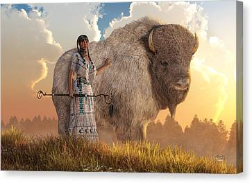 White Buffalo Calf Woman Canvas Print by Daniel Eskridge