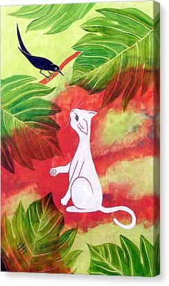 White Cat Black Bird Canvas Print by Susan Greenwood Lindsay