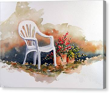 White Chair With Flower Pots Canvas Print by Sam Sidders