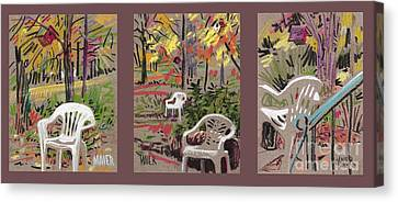 White Chairs And Birdhouses 1 Canvas Print by Donald Maier