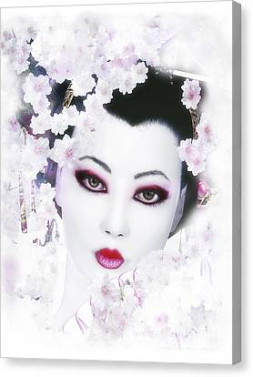 White Cherry Blossom Geisha Canvas Print by Shanina Conway