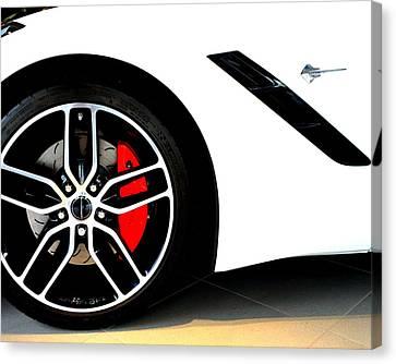 White Corvette Stingray 2015 Chevy Canvas Print by Katy Hawk