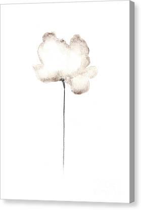 White Flower Minimalist Painting Canvas Print by Joanna Szmerdt