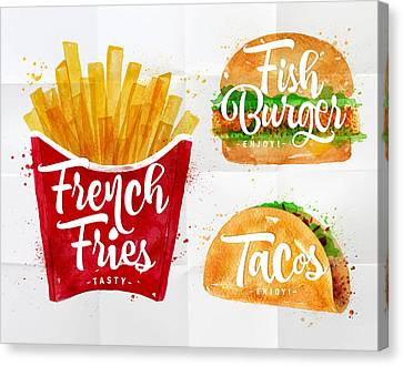 White French Fries Canvas Print by Aloke Design