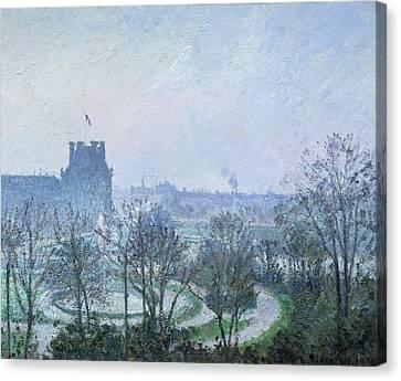 White Frost Jardin Des Tuileries Canvas Print by Camille Pissarro