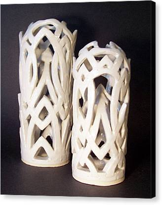 White Interlaced Sculptures Canvas Print by Carolyn Coffey Wallace