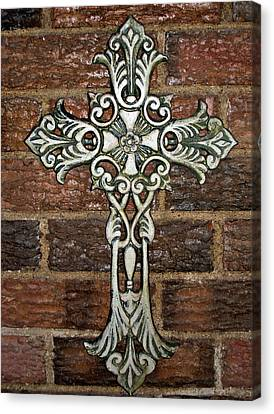 White Iron Cross 1 Canvas Print by Angelina Vick