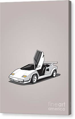 White Lamborghini Countach Canvas Print by Monkey Crisis On Mars