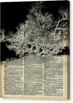 White Lonley Tree Dictionary Art Canvas Print by Jacob Kuch