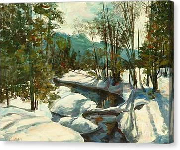 White Mountain Winter Creek Canvas Print by Claire Gagnon