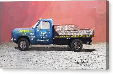 White Owl Truck Canvas Print by Stacy C Bottoms