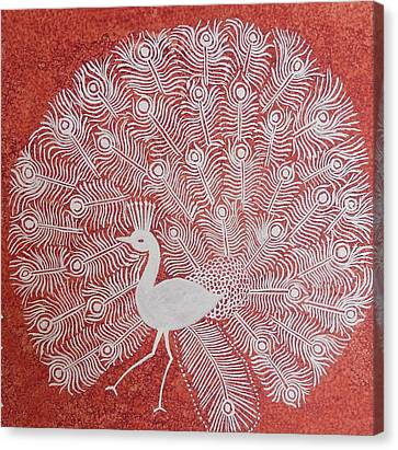 White Peacock Dance- Original Warli Painting Canvas Print by Aboli Salunkhe