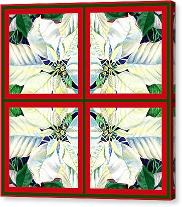 White Poinsettia Quartet Canvas Print by Irina Sztukowski