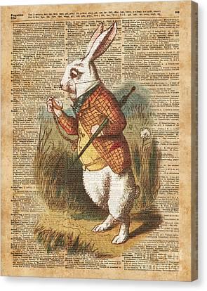 White Rabbit Alice In Wonderland Vintage Art Canvas Print by Jacob Kuch