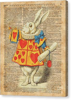 White Rabbit With Trumpet Alice In Wonderland Vintage Dictionary Artwork Canvas Print by Jacob Kuch
