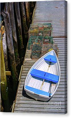 White Rowboat Canvas Print by Diane Diederich