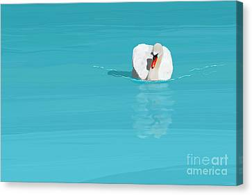 White Swan Blue Lake Canvas Print by Jan Brons