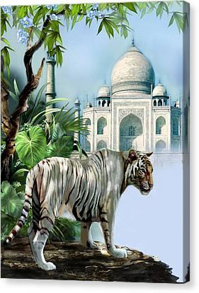 White Tiger And The Taj Mahal Image Of Beauty Canvas Print by Regina Femrite