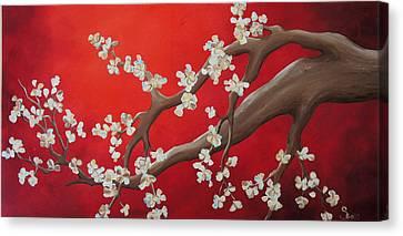 White Tree Blossoms Canvas Print by Shiela Gosselin