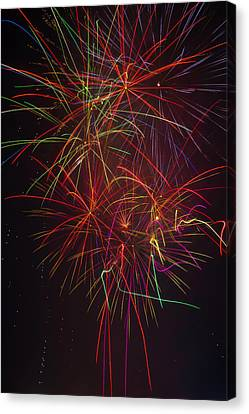 Wild Colorful Fireworks Canvas Print by Garry Gay
