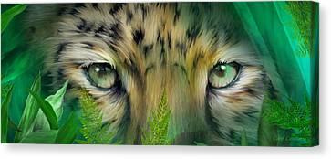 Wild Eyes - Amur Leopard Canvas Print by Carol Cavalaris
