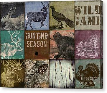 Wild Game Patchwork Canvas Print by Mindy Sommers