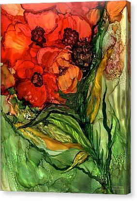 Wild Poppies - Organica Canvas Print by Carol Cavalaris