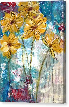 Wild Sunflowers- Art By Linda Woods Canvas Print by Linda Woods
