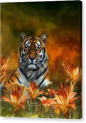 Wild Tigers Canvas Print by Carol Cavalaris
