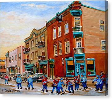 Wilenskys Diner Hockey Game In Progress Canvas Print by Carole Spandau
