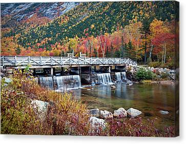 Willey Pond Damn Foliage Canvas Print by Eric Gendron