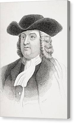 William Penn 1644-1718 English Quaker Canvas Print by Vintage Design Pics