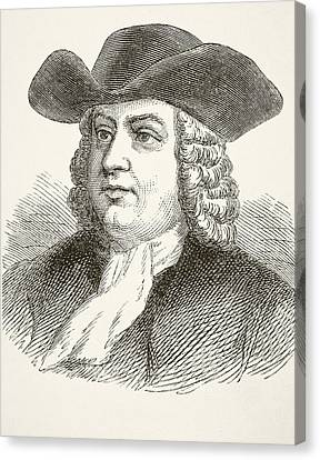 William Penn 1644 To 1718, English Canvas Print by Vintage Design Pics
