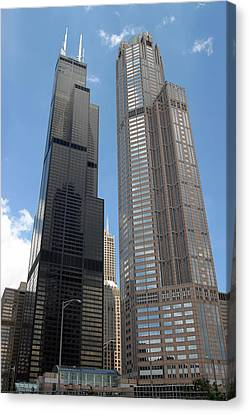 Willis Tower Aka Sears Tower And 311 South Wacker Drive Canvas Print by Adam Romanowicz