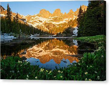 Willow Lake Sunrise Canvas Print by Aaron Spong