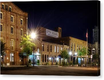 Wilmington Cotton Exchange At Night Canvas Print by Greg Mimbs